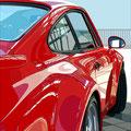 Porsche 32 gespiegelt -   2018   Acrylfarbe auf LW  -    1,8m x 1,6m