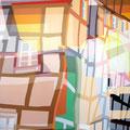FACHWERKREIHE ÜBERLAGERUNG IX   2004   -   Acrlfarbe auf LW   -   1,8m x 1,3m