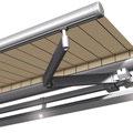 optional erhältliche LED-Schiene auf offene Gelenkarm-Markise G60