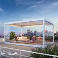 BAVONA TP6500: frei stehender Pavillon oder mit Anschluss direkt an der Fassade. Erweitert mit Schiebeverglasung.