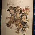 Autographed Highwaymen caricature