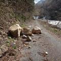 落石により林道は通れず。