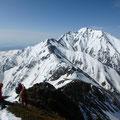 唐松岳から五竜岳への道。