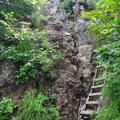 武尊山山頂手前の鎖場