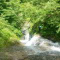 右俣の滝を見下ろす。