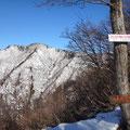 登山道にある展望所から見た烏帽子岳。