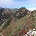 山頂まで続く稜線登山道。