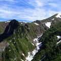 6合目より 天狗岩と割引岳 ヌクビ沢