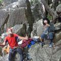 マラ岩で休憩中。