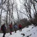 浄法寺山への登山道はもう雪道