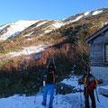 果してスキーはできるか…甚の助小屋にて。