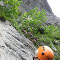 藪をかき分け、滑りやすい石灰岩を登る1ピッチ目。
