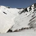 三俣蓮華岳から黒部源流へ滑り込む。