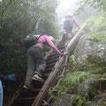 開聞岳登山道には、こんな梯子段もありました。