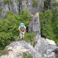 烏帽子岩左稜線では2回の懸垂下降もありました。