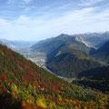Samedi, ça commence bien : vue magnifique sur le Valais dans la descente sur Martigny