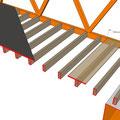 Exemple de plancher dont les poutres sont espacées de 2m (trop grand pour l'OSB)