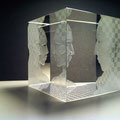'chessmen' engraved optical crystal cube 8cms