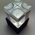 'thistledown' engraved optical crystal block, palladium leaf. 8cms