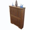 Cubre radiador rustico, pino macizo envejecido y teñido color nogal