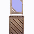 Cubre radiador con espejo en contrachapado de chopo, teñido en wengé