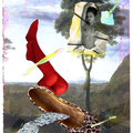 """postkarte, """"wohin mit dem bohnenstroh"""", collage & mischtechnik, 2009"""