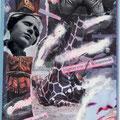 """postkarte, """"kalkanstrich blättert von der winterrinde"""",mischtechnik & copllage, 2010"""