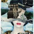 """postkarte, """"wer hat für's tote kind die weiße sockenflut bestellt"""", mischtechnik, collage, 2010"""