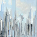 """""""City Seaport"""", oil on canvas, fine art print © Gregory Lang 2017"""