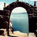 Mirando el lago en Puno