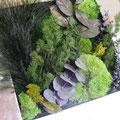 Cadre avec végétaux stabilisés (Eucalyptus, ming )