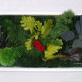 Cadre avec végétaux stabilisés - Rose rouge et chêne vert clair