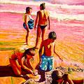 2 ) LA FAMILIA EN LA PLATGETA DE CALP (huile sur toile 150x110 )
