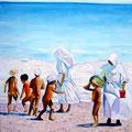 8 ) LES RELIGIEUSES AVEC LES ENFANTS  (huile sur toile 92X73 )