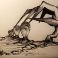Angoscia dell'influenza/Polvere e Colori/ Bastare e Basta/ Oberati dal sé/ <--->, penna su carta, 2012