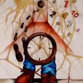 Tempo della surrealtà trovata e perduta, tecnica mista su carta, 2013