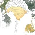 """""""Maschinenkopf"""", Siebdruck, Bleistift, Collage, 2011"""