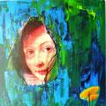 übermalte Rubens Verlobte 40x40cm Acryl mit Foto