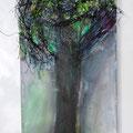 einzelner Baum im Park 30x60cm Acryl mit Materialien
