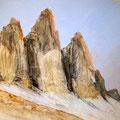 Tre Cime, 80 x 60 cm, Erde und Acryl