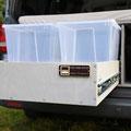 Organisiert Reisen mit den praktischen und günstigen Verstauboxen - Die TRAVEL-SLEEP-BOX für den VW T5/T6 Transporter und belastbarem Heckauszug / Vollauszug