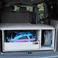 Die TRAVEL-SLEEP-BOX für den VW T5/T6 Transporter und belastbarem Heckauszug / Vollauszug