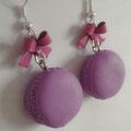Sweet Macaron Earrings -  2. Purple Macaron & Magenta Bow