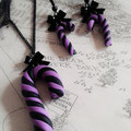 Pastel Goth Candy Cane Earrings & Necklace