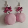Sweet Macaron Earrings - 3. Pink Macaron & Magenta Bow