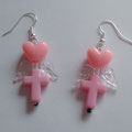 Pink Cross earrings with Hearts & Wings