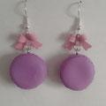Sweet Macaron Earrings - 4. Purple Macaron & Pastel Pink Bow