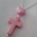 Pink Cross Necklace with Heart & Wings