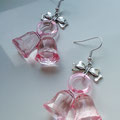 Pink Christmas Bell earrings with silver bows