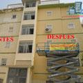 Restauración y aplicación de pintura en Fachada plaza Galeotes.